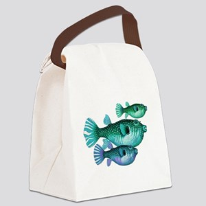 Trio of Blue Green Puffer Fish Canvas Lunch Bag