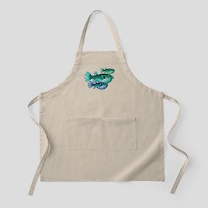 Trio of Blue Green Puffer Fish Light Apron