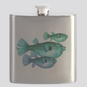 Trio of Blue Green Puffer Fish Flask