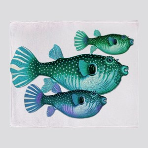 Trio of Blue Green Puffer Fish Throw Blanket