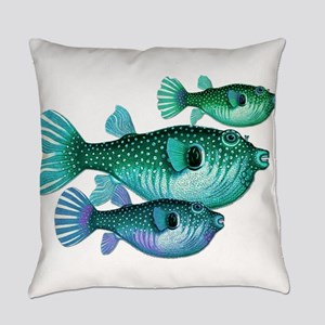 Trio of Blue Green Puffer Fish Everyday Pillow