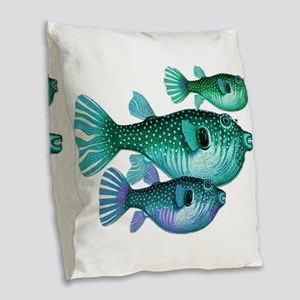 Trio of Blue Green Puffer Fish Burlap Throw Pillow