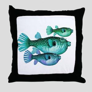 Trio of Blue Green Puffer Fish Throw Pillow