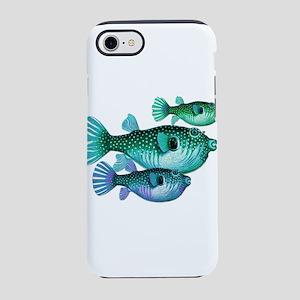Trio of Blue Green Puffer Fish iPhone 7 Tough Case