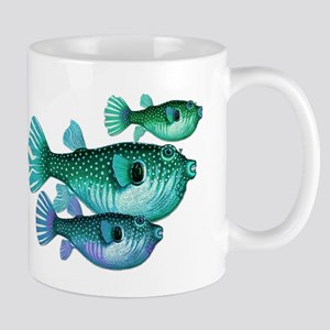 Trio of Blue Green Puffer Fish Mugs