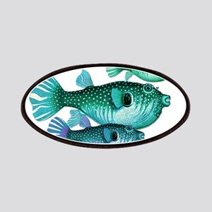Trio of Blue Green Puffer Fish Patch