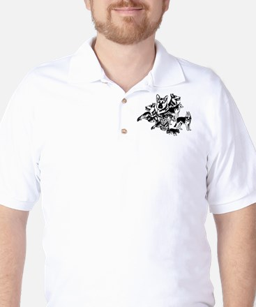 GSD Black and White collage Golf Shirt