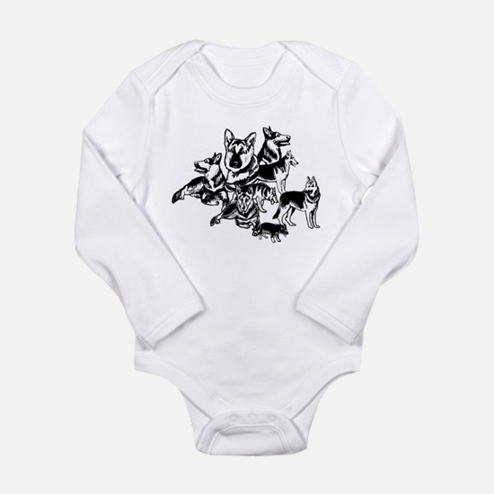 GSD Black and White collage Long Sleeve Infant Bod