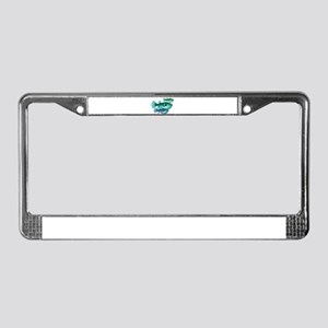 Trio of Blue Green Puffer Fish License Plate Frame