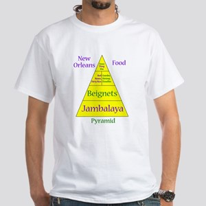 New Orleans Food Pyramid White T-Shirt