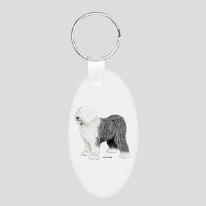 Old English Sheepdog Aluminum Oval Keychain