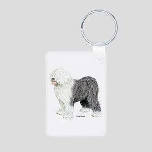 Old English Sheepdog Aluminum Photo Keychain