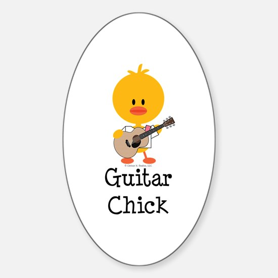 Guitar Chick Sticker (Oval)
