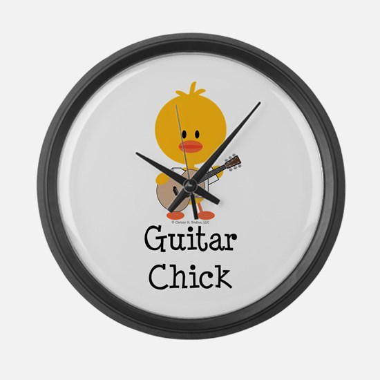 Guitar Chick Large Wall Clock