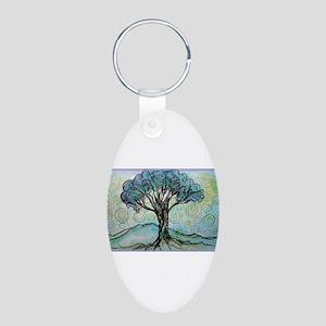 Tree, Colorful, Aluminum Oval Keychain
