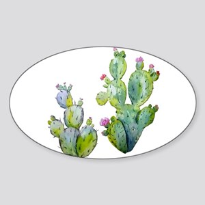 Blooming Watercolor Prickly Pear Cactus Sticker