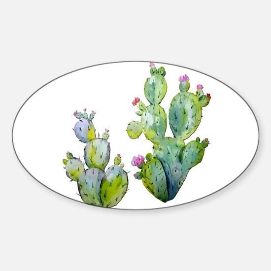 Blooming Watercolor Prickly Pear Cactus Decal