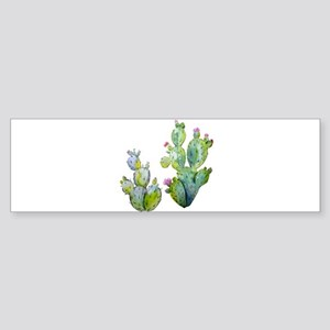 Blooming Watercolor Prickly Pear Ca Bumper Sticker