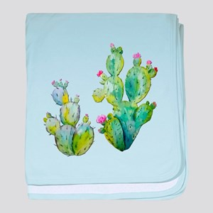 Blooming Watercolor Prickly Pear Cact baby blanket