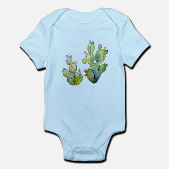 Blooming Watercolor Prickly Pear Cactus Body Suit