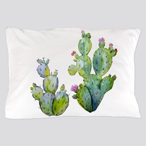 Blooming Watercolor Prickly Pear Cactu Pillow Case