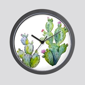 Blooming Watercolor Prickly Pear Cactus Wall Clock