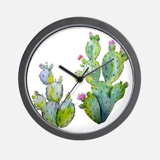 Blooming Watercolor Prickly Pear Cactus Wall Clock