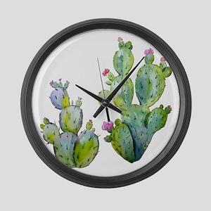 Blooming Watercolor Prickly Pear Large Wall Clock