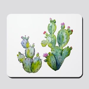 Blooming Watercolor Prickly Pear Cactus Mousepad