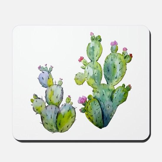 Blooming Watercolor Prickly Pear Cactus Mousepad