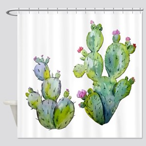Blooming Watercolor Prickly Pear Ca Shower Curtain
