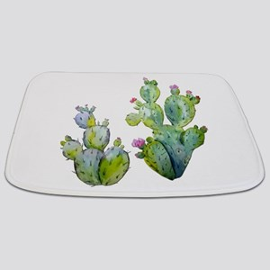 Blooming Watercolor Prickly Pear Cactus Bathmat