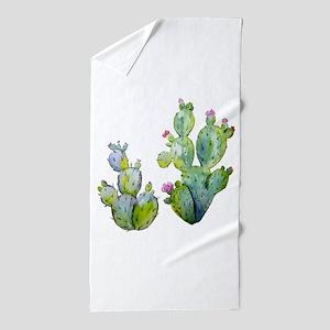 Blooming Watercolor Prickly Pear Cactu Beach Towel