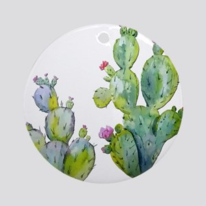 Blooming Watercolor Prickly Pear Ca Round Ornament