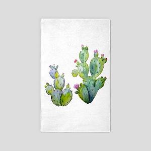 Blooming Watercolor Prickly Pear Cactus Area Rug
