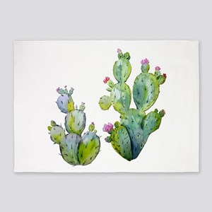 Blooming Watercolor Prickly Pear Ca 5'x7'Area Rug