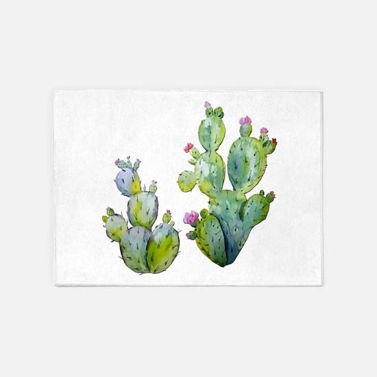 Blooming Watercolor Prickly Pear Ca 5'x7'Area Rug