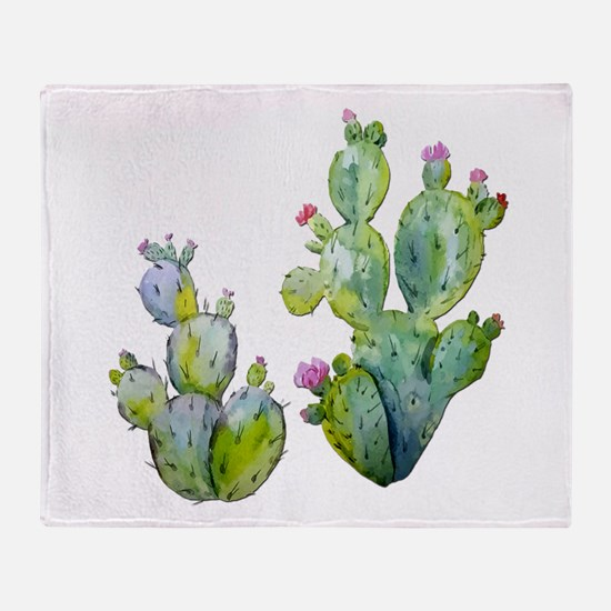 Blooming Watercolor Prickly Pear Cac Throw Blanket