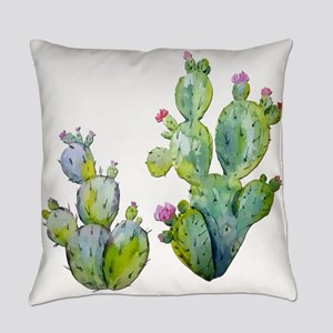 Blooming Watercolor Prickly Pear C Everyday Pillow