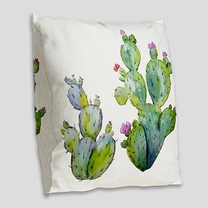 Blooming Watercolor Prickly Pe Burlap Throw Pillow