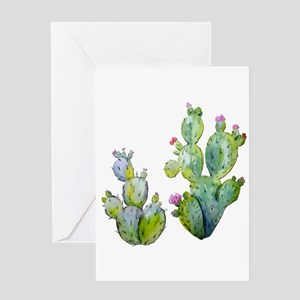 Blooming Watercolor Prickly Pear Ca Greeting Cards