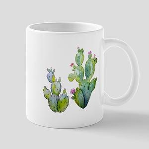 Blooming Watercolor Prickly Pear Cactus Mugs