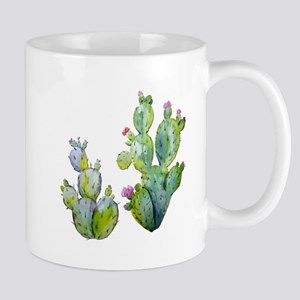 Blooming Watercolor Prickly Pear Cactus Mugs