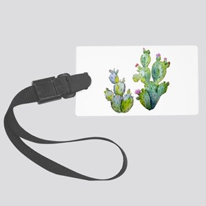 Blooming Watercolor Prickly Pear Large Luggage Tag