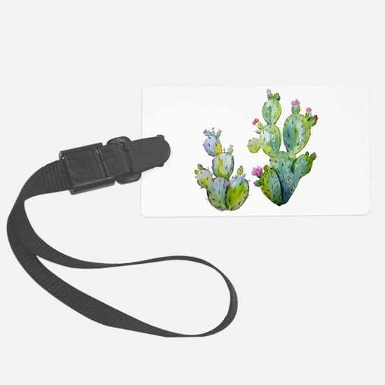 Blooming Watercolor Prickly Pear Luggage Tag
