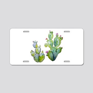 Blooming Watercolor Prickly Aluminum License Plate