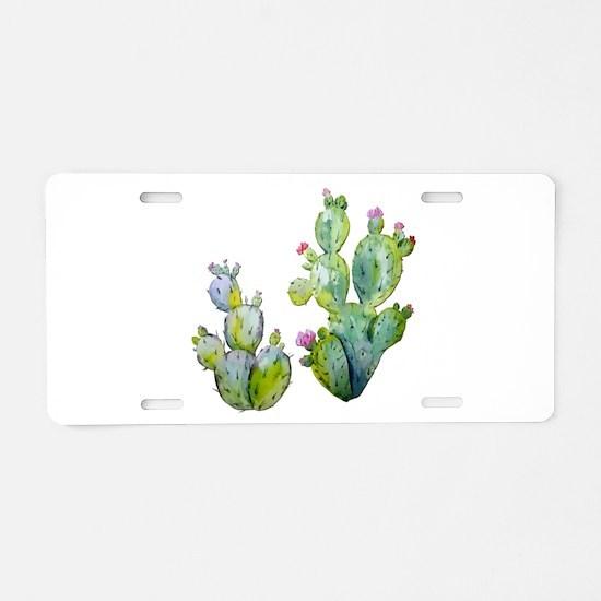 Blooming Watercolor Prickly Aluminum License Plate