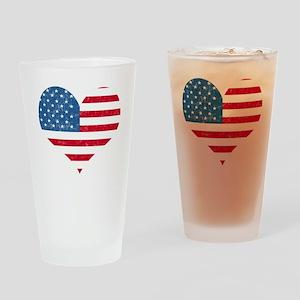 American Flag Heart Pint Glass