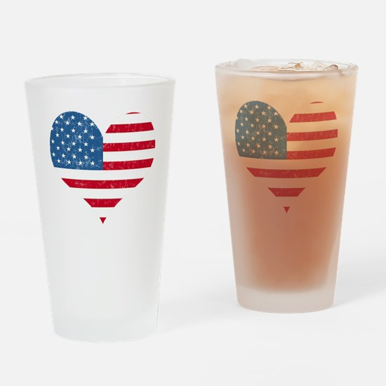 American Flag Heart Pint Glass