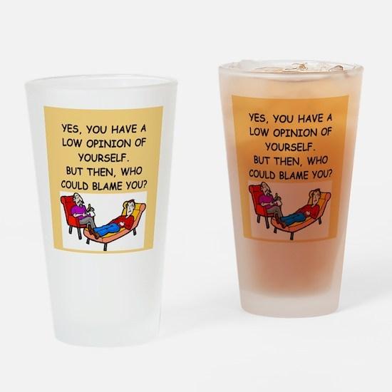 funny psychology joke Pint Glass